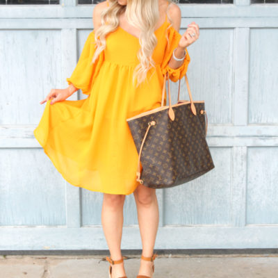 Mango Open Shoulder Dress