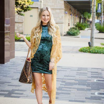 Velvet Dress & Marigold Kimono