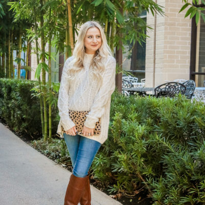 Knit Sweater + Pop of Leopard